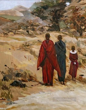 three monks impressionist from Africa Oil Paintings